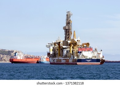 ALGECIRAS, SPAIN – MARCH 24, 2019.. Drillship Stena IceMax, the world's first dynamically positioned, dual mast ice-class drillship anchored close to Algeciras bay, in Cadiz.