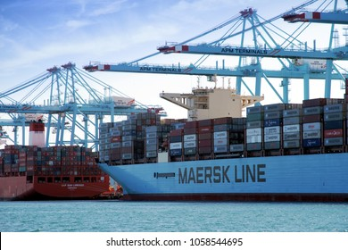ALGECIRAS, SPAIN – MARCH 25. The container ship MAERSK HONG KONG works with containers handling gantry cranes in the port of Algeciras, on march 25, 2018 in Cadiz.