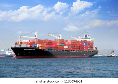 ALGECIRAS, SPAIN. SEPTEMBER 11: Containership NORFOLK TRADER entering in the port of Algeciras; on September 11, 2018 in Spain.