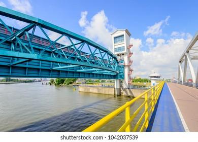 The Algera storm surge barrier is a hydraulic engineering work in the large Dutch Delta Works project. The barrier is built in the Dutch river Hollandse IJssel at Krimpen aan den IJssel near Rotterdam