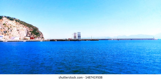 Béjaïa / Algeria - 08/16/2019 : cargo ship in port of Béjaïa, algeria