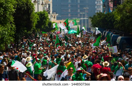 Algeria, Algiers - July 05 2019 : milions of Algerians keep up pressure in the 20th week of protest , against the current government, and against corruptions in The country