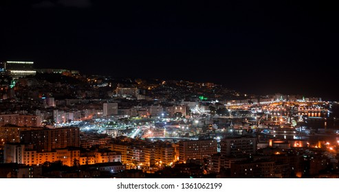 Algeria, Algiers - March 23 2019 : Algiers cityscape at night
