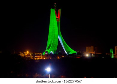 Algeria, Algiers - March 29 2019 : Martyrs' Memorial at the night , in the capital of Algeria