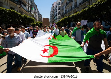 Algeria, Algiers - May 11 2019 : millions of Algerians keep up pressure  in the the first week of Ramadan, against the current government, and against corruptions in The country