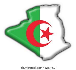Algeria button flag map shape