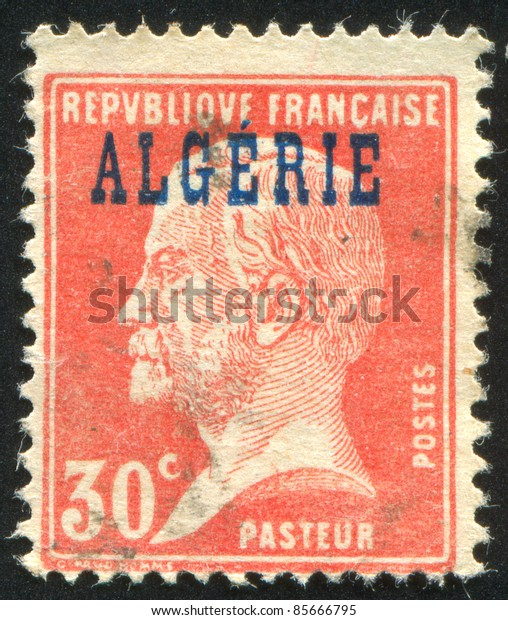 ALGERIA - CIRCA 1924: stamp printed by France, shows Louis Pasteur, circa 1924