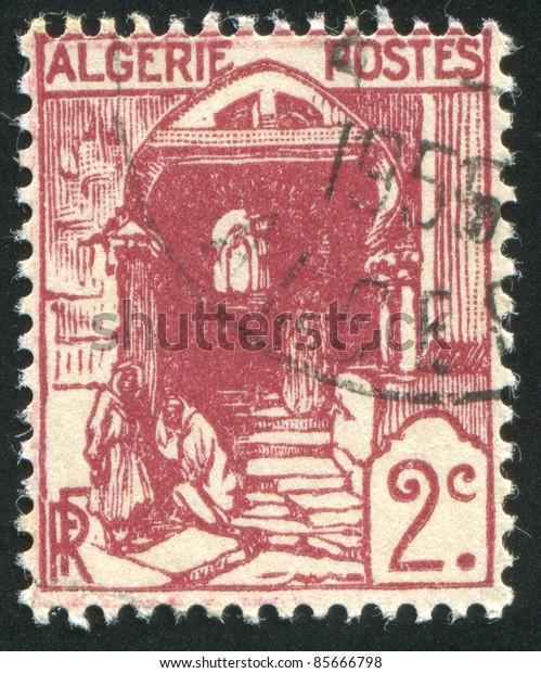 ALGERIA - CIRCA 1926: stamp printed by Algeria, shows Street in Kasbah, Algiers, circa 1926