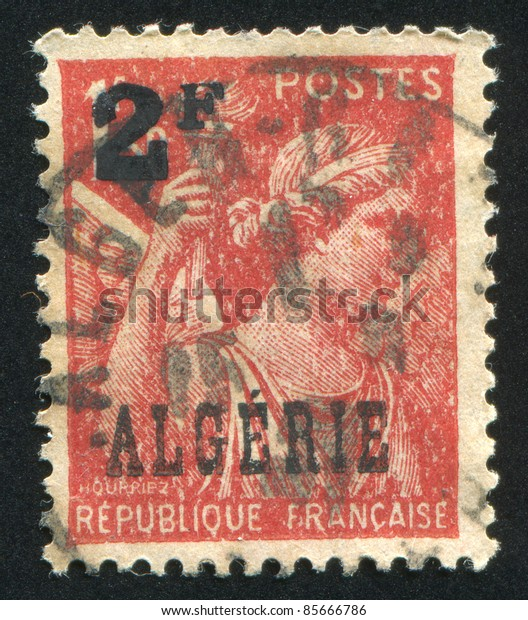 ALGERIA - CIRCA 1944: stamp printed by France, shows Iris, circa 1944