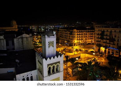 Algeria city / Algeria - 01 Nov 2014: The vintage street in Algeria city at night, Algeria