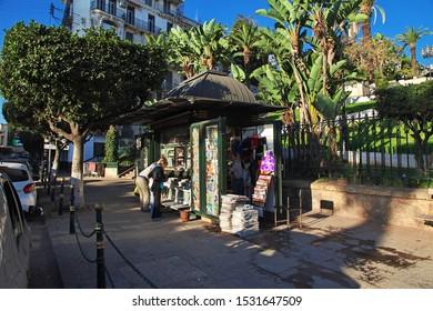 Algeria city / Algeria - 01 Nov 2014: The Newsagent on the street in Algeria city on Mediterranean sea, Algeria