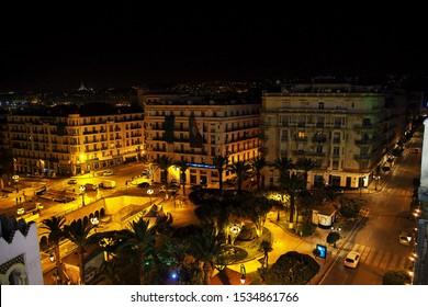 Algeria city / Algeria - 01 Nov 2014: The vintage street in Algeria city at night, Algeria