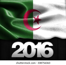 Algeria Flag & Happy New Year 2016 typography on wood texture background