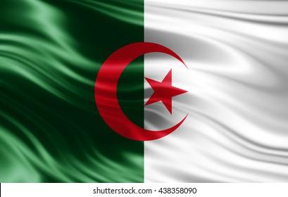Algeria flag of silk-3D illustration