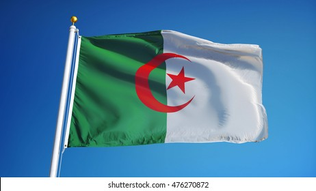 Algeria flag waving against clean blue sky, close up, isolated with clipping mask alpha channel transparency, perfect for film, news, digital composition