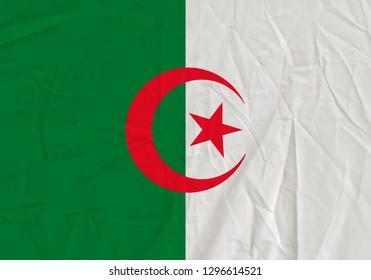Algeria grunge flag. Patriotic background. National flag of Algeria