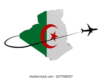 Algeria map flag with plane silhouette and swoosh 3d illustration