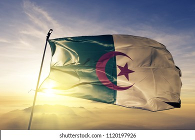Algeria national flag textile cloth fabric waving on the top