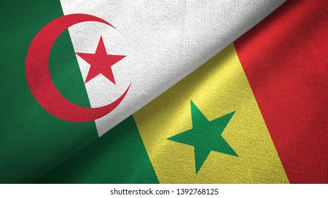 Algeria and Senegal two flags textile cloth, fabric texture