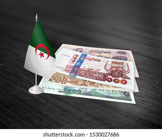 Algerian official currency( Algerian dinar), Money and Currency in Algeria (500 dinar,1000 dinar,2000 dinar) with Algerian flag on wood table