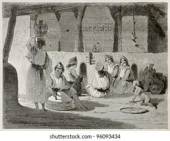 Algerian women in home interior old illustration. Created by Stop after Duhousset, published on Le Tour Du Monde, Paris, 1867