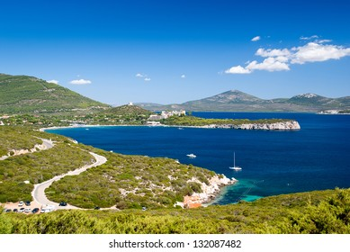 Alghero bay on the way to the Neptune cave at Sardinia, Italy
