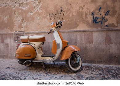 Alghero, Italy - 26 September 2019: Motorcycle in the streets of Alghero, Italy
