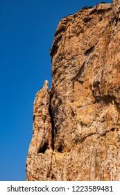 Alghero, Sardegna, Italy - Limestone cliffs of the Capo Caccia cape at the Gulf of Alghero