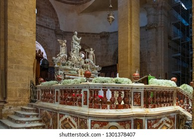 Alghero, Sardinia / Italy - 2018/08/07: Interior of Alghero Cathedral church, known also as Cathedral of St. Mary the Immaculate - Duomo di Alghero - at the Piazza Duomo square in the historic quarter