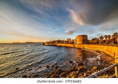 Alghero seafront at sunset, Sardinia