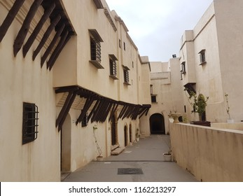 Algiers, Algeria - Circa 2017. Qasr Rias al Bahr museum. Narrow street with balconies supported by wooden bars is an example of Medieval Arab architecture