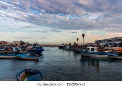 Algiers , Algeria - December 06, 2018 : Colorful fishing boats in the port of Algiers, Algeria