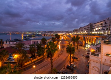 Algiers , Algeria - December 06, 2018 : Algiers cityscape at night