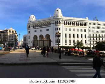 Algiers, Algeria - January 13, 2018: Grande Poste D'Alger (Grand Post Office) exterior view.