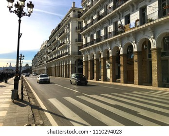 Algiers, Algeria - January 13, 2018: Rampe Magenta and French colonial buildings in city center.