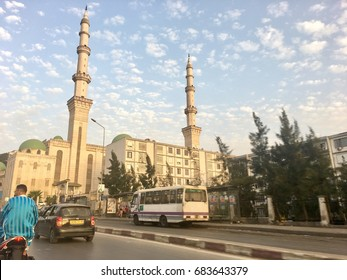 ALGIERS, ALGERIA - JULY 19, 2017: Dely Ibrahim mosque street of hassiba ben bouali Algiers Algeria.The mosque is located in Dely Ibrahim Algiers.