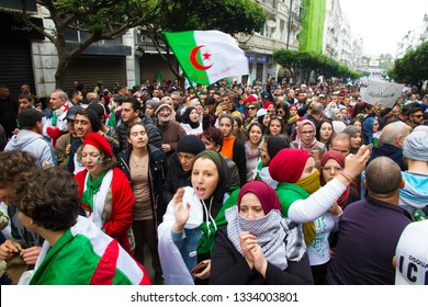 Algiers, Algeria - March 08 2019 : 2nd Friday of protest in Algeria corresponding to the women day. The protesters demand the withdrawal of the current president Abdelaziz Bouteflika