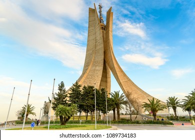 ALGIERS, ALGERIA - MARCH 12, 2018: Martyrs' Memorial, Algiers, the capital and largest city of Algeria.