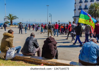 Algiers, Algeria - March 15 2019 : 4th Friday of protest in Algiers, calling for a reform of the political system and a 2nd republic, after the candidacy of President Abdelaziz Bouteflika.