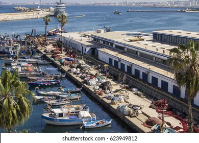 ALGIERS, ALGERIA - March 26, 2017: Colorful fishing boats in the port of Algiers, Algeria