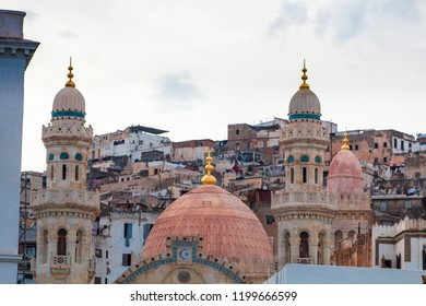 Algiers, Algeria - SEP 21, 2018 : the mosque of ketchaoua and the ancient part of old city of Algeria, called casbah , Unesco World Heritage Site