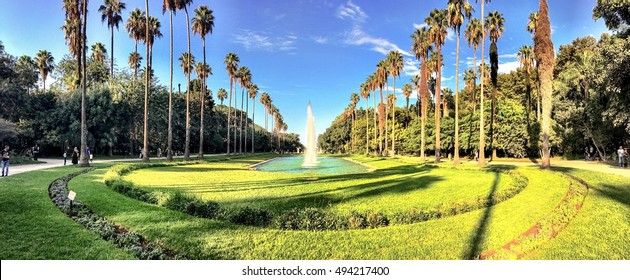 ALGIERS, ALGERIA - SEP 24, 2016:Circle pool in the Botanical Garden of Hamma in Algiers. It was established in 1832 and is now still considered one of the most important botanical gardens in the world