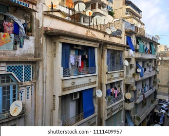 Algiers, Algeria - September 22, 2017: French colonial architecture style buildings in city center.