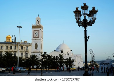 Algiers, April 28, 2018 : Jamaa El Jedid (New Mosque) with the foreground of beautiful lamp post. The mosque was built in the 17th century in moorish style architecture, from Ottoman Period.