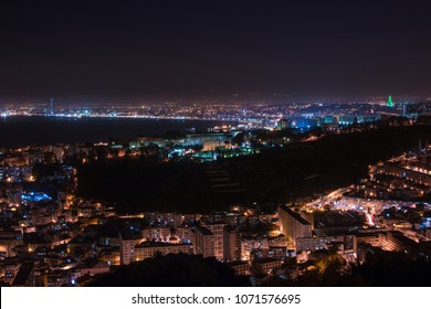 Algiers cityscape at night , Algeria - April 10, 2018