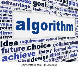 Algorithm technical poster design. Effective solution message bsckground