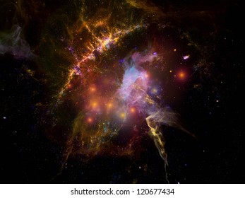 Algorithmic Cosmos series. Artistic background made of fractal elements for use with projects on astronomy, technology, physics and space science