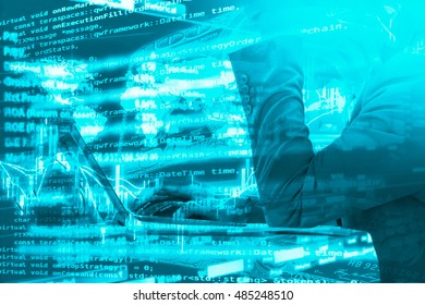 Algorithmic investment and trading concept. Double exposure of business man using laptop computer, stock graph, trading data and computer coding.