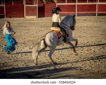 Alhama de Granada, Spain - 9th September 2016: Traditional Spanish horse riding during a fiesta