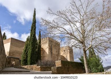 alhambra alcazaba fortress exterior view. Granada, Spain